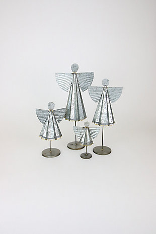 Decorative Galvanized Angels (Set of 4), , large