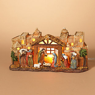 Decorative Nativity Scene with Manger and Bethlehem Backdrop, , rollover
