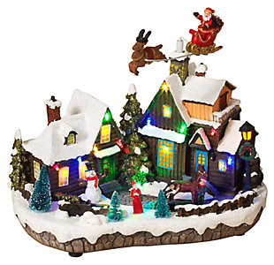 Decorative Holiday Village Scene with Moving Figurines, , large