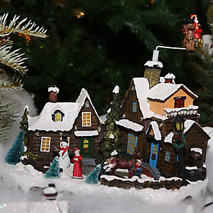 Decorative Holiday Village Scene with Moving Figurines, , rollover