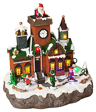 Decorative Brick Building Holiday Village Scene with Moving Figurines, , large