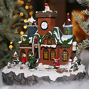 Decorative Brick Building Holiday Village Scene with Moving Figurines, , rollover