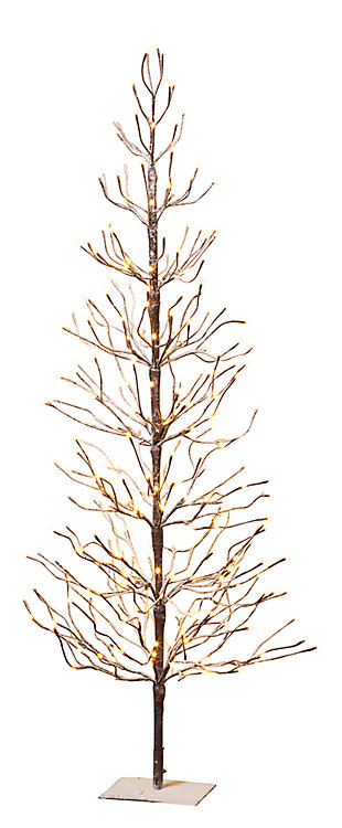 Decorative 6' Snowy Tree with LED Lighting, , large