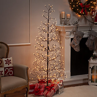 Decorative 6' Snowy Tree with LED Lighting, , rollover