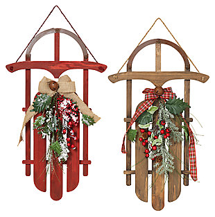 Decorative Traditional Holiday Sleigh Wall Art (Set of 2), , large