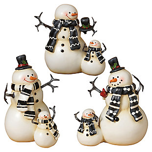 Decorative Coupled Snowmen Figurines (Set of 3), , large