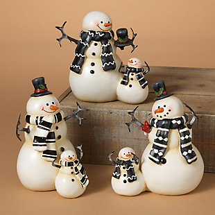 Decorative Coupled Snowmen Figurines (Set of 3), , rollover