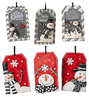 Decorative Snowman Ornaments (Set of 6), , large