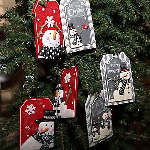 Decorative Snowman Ornaments (Set of 6), , rollover