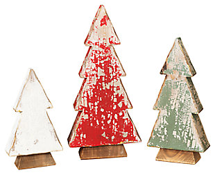 Decorative Assorted Wood Tabletop Tree Figures (Set of 3), , large