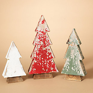 Decorative Assorted Wood Tabletop Tree Figures (Set of 3), , rollover
