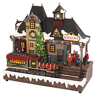 "Decorative Musical ""Hometown"" Train Station with Lighted Train, , large"