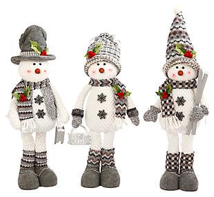 Decorative Plush Standing Snowmem (Set of 3), , large