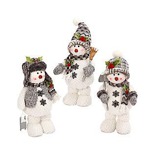 Decorative Plush Standing Snowmen (Set of 3), , large