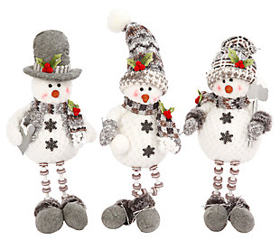 Decorative Plush Snowmen Shelf Sitters (Set of 3), , large