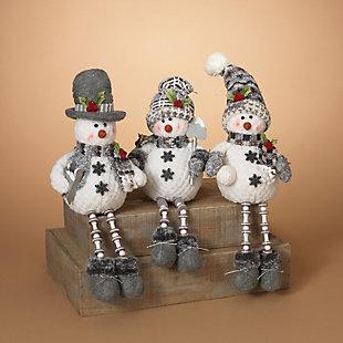 Decorative Plush Snowmen Shelf Sitters (Set of 3), , rollover
