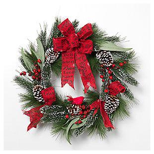 """Decorative 24"""" Holiday Mixed Flocked Pine Wreath, , large"""