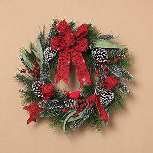 "Decorative 24"" Holiday Mixed Flocked Pine Wreath, , rollover"