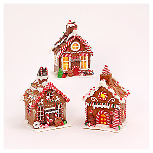 Decorative Clay Gingerbread House Set (Set of 3), , large