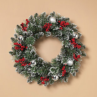 """Decorative 24"""" Mixed Snow and Glitter Pine Wreath, , large"""