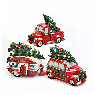 Decorative Holiday Vehicles with Timer Feature (Set of 3), , large