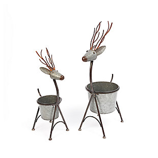 Decorative Metal Nesting Deer Figure Planters (Set of 2), , large