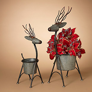 Decorative Metal Nesting Deer Figure Planters (Set of 2), , rollover