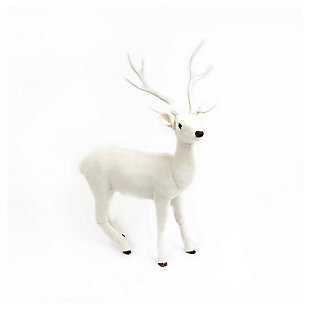 """Decorative 66"""" White Standing Deer, , large"""