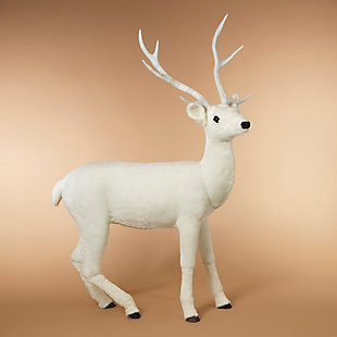 """Decorative 66"""" White Standing Deer, , rollover"""