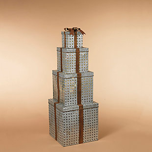 """Decorative 55"""" Metal Stacking Gift Boxes, , rollover"""