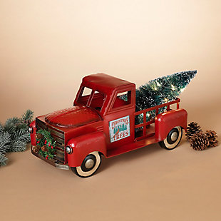 """Decorative 21"""" Metal Truck with Lighted Christmas Tree, , rollover"""