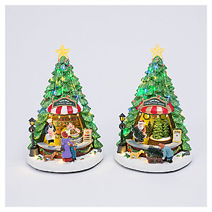 """Decorative 13"""" Musical Rotating Holiday Scenes (Set of 2), , large"""