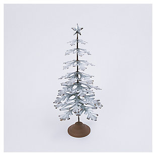 """Decorative 33"""" Metal Tabletop Evergreen Tree with Star Topper Accent, , large"""
