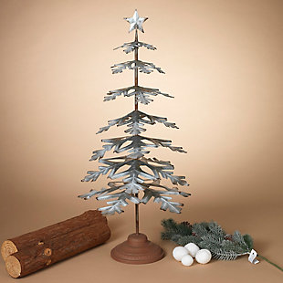 """Decorative 33"""" Metal Tabletop Evergreen Tree with Star Topper Accent, , rollover"""