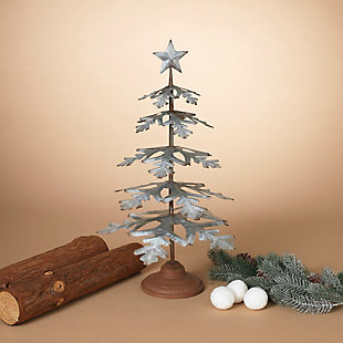 "Decorative 23"" Metal Tabletop Evergreen Tree with Star Topper Accent, , rollover"