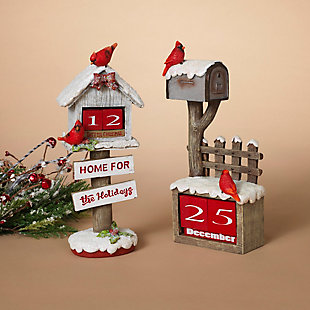 "Decorative 10.5"" Holiday Cardinal Bird House (Set of 2), , rollover"