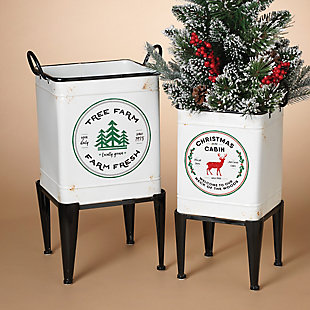 Decorative Metal Footed Holiday Planters (Set of 2), , rollover
