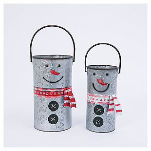 Decorative Nesting Metal Snowman Buckets (Set of 2), , large