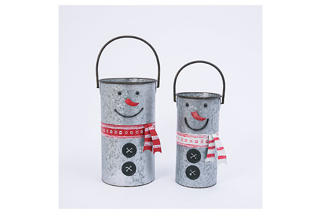 Decorative Nesting Metal Snowman Buckets (Set of 2), , large