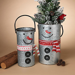 Decorative Nesting Metal Snowman Buckets (Set of 2), , rollover