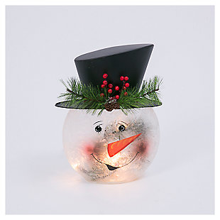 "Decorative 11"" Frosted Glass Snowman Lamp, , large"
