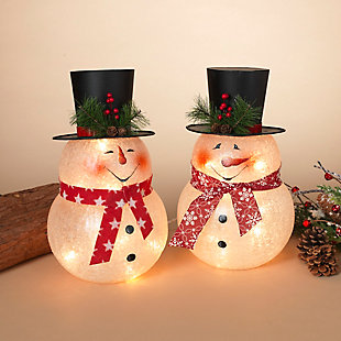 "Decorative 13.75"" Frosted Glass Snowman Lights with Top Hat (Set of 2), , rollover"