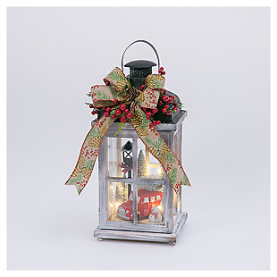 "Decorative 15"" Wood Lantern with Holiday Scene, , large"