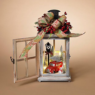 """Decorative 15"""" Wood Lantern With Holiday Scene, , rollover"""