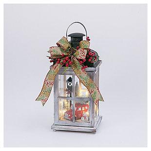 """Decorative 15"""" Wood Lantern With Holiday Scene, , large"""
