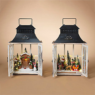 Decorative Wood Lanterns with Holiday Scenes (Set of 2), , rollover