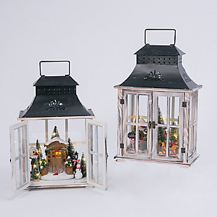 Decorative Wood Lanterns with Holiday Scenes (Set of 2), , large