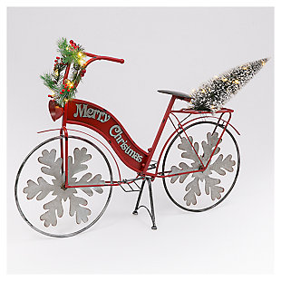 """Decorative 42.9"""" Holiday Bicycle with Tree and Wreath Accents, , large"""