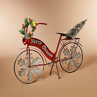 """Decorative 42.9"""" Holiday Bicycle with Tree and Wreath Accents, , rollover"""