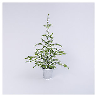 "Decorative 33"" Flocked Evergreen Tree in Bucket, , large"